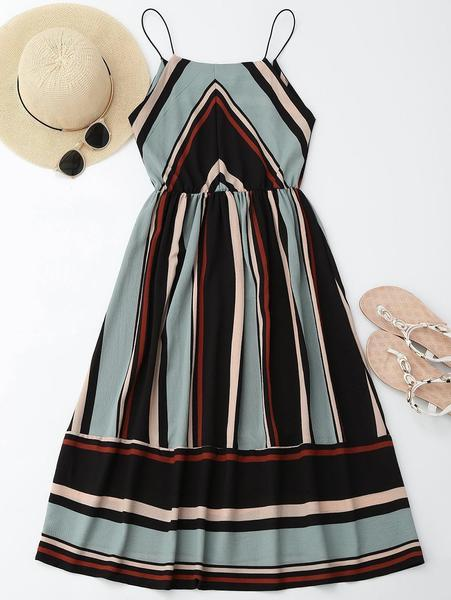 Azul - Striped Midi Dress