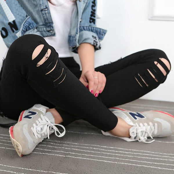 Classic Distressed Jean Leggings