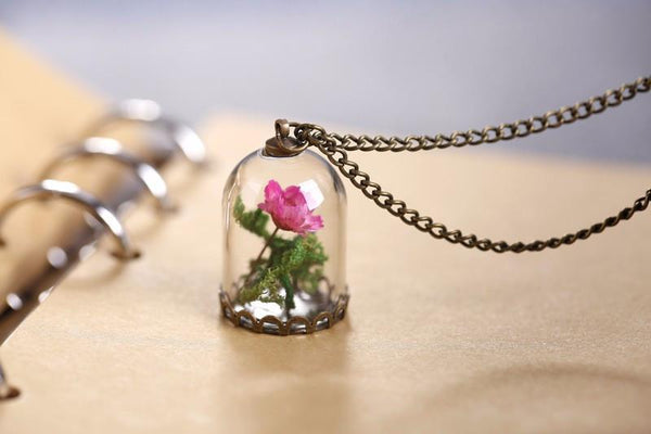 Pink Rose Glass Vial Necklace