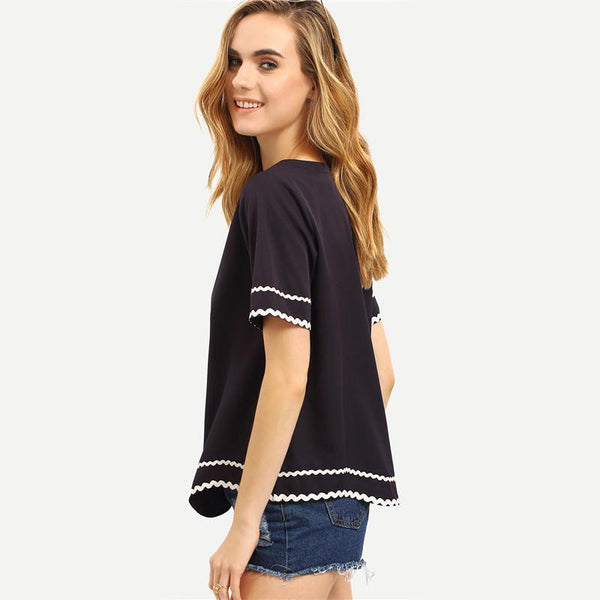 Black Wave Trim Top
