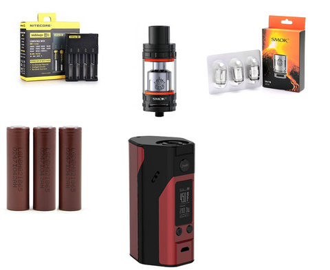 Wismec Reuleaux RX200S Black and Red - Combo Deal - Black SMOKtech TFV8 Cloud Beast + Pack of 3 V8-T8 Coils + 3 LG HG2 + Nitecore i4 Charger