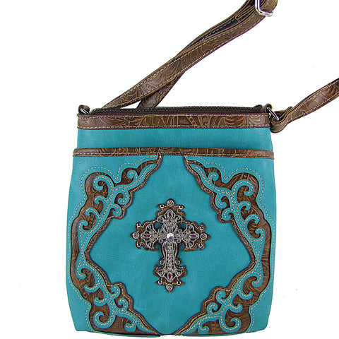 TURQUOISE WESTERN RHINESTONE WITH CROSS