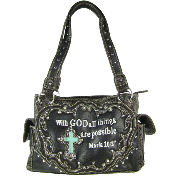 BLACK BIBLE VERSE STUDDED RHINESTONE CROSS