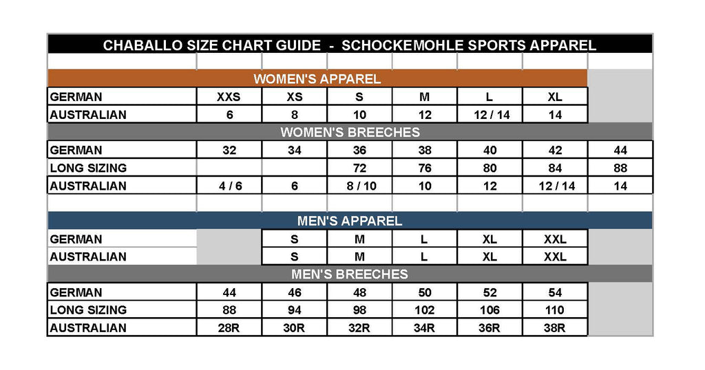 Schockemöhle Sports Sizing Chart