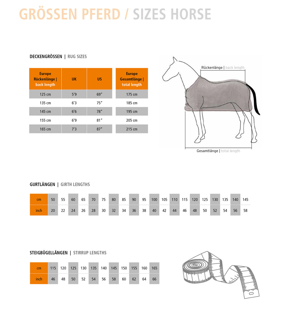 Measurements for horse gear
