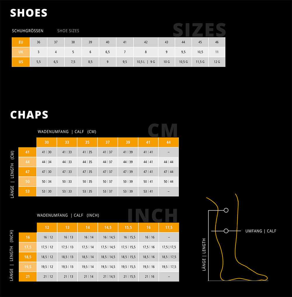 Sizing table for boots and chaps
