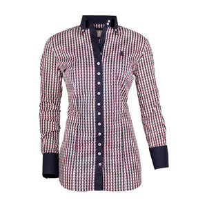 FIOR DA LISO BLOUSE STELLA HORSE HOUNDSTOOTH