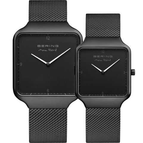 Bering Max René black 36 mm Men's Watch (15836-123) & Bering Max René black 32 mm Women's Watch (15832-123)