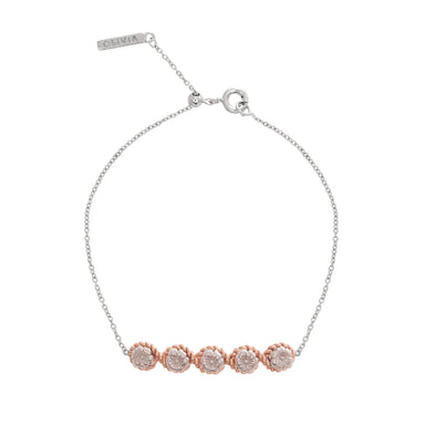 Flower Show Rope Chain Bracelet Silver & Rose Gold-Olivia Burton-COCOMI