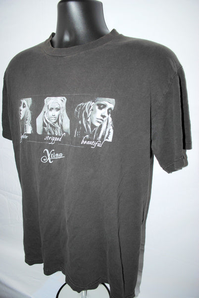 2002 Christina Aguilera Fighter Stripped Beautiful Rare Vintage Xtina Pop Music Concert Tour T-Shirt