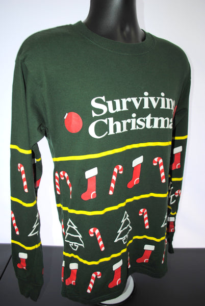 2004 Surviving Christmas Vintage Ugly Sweater Style Long Sleeve 00's Cult Classic James Gandolfini Holiday Movie Promo T-Shirt