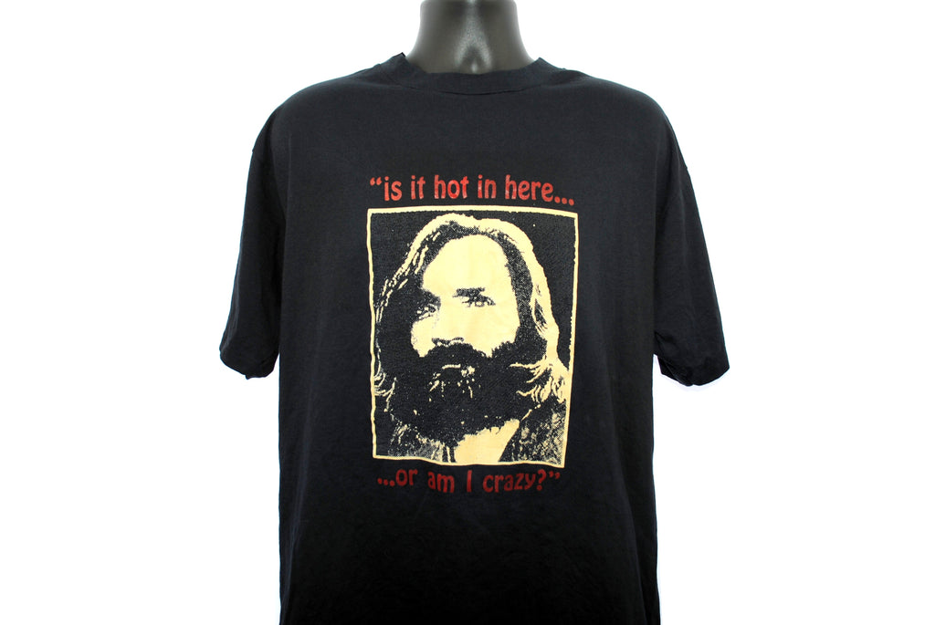 1995 Charles Manson Vintage Glow In The Dark Is It Hot In Here... ...Or Am I Crazy? Classic Manson Family Cult Leader Murderabilia Promo T-Shirt