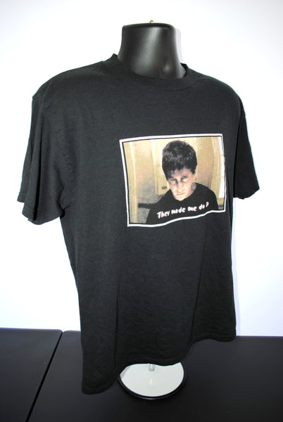 2003 Donnie Darko Vintage They Made Me Do It Cult Classic 00's Indie Goth Movie Promo T-Shirt