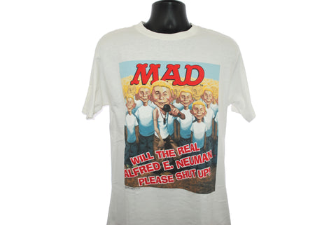 2001 MAD Vintage WILL THE REAL ALFRED E. NEUMAN SHUT UP! Classic Y2k Pop Culture Eminem Parody Promo T-Shirt