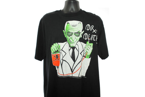 1990's Jack Kevorkian Vintage D℞. Death He Has The Solution Classic 90's Pop Culture Right To Die Horror Style Assisted Suicide Doctor Character Promo T-Shirt