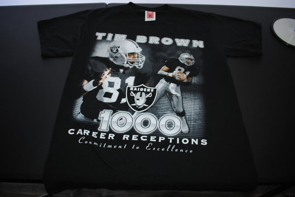 2002 Tim Brown Vintage Tecmo Bowl Classic Legend 1000 L.A // Oakland Raiders #81 Player Promo T-Shirt