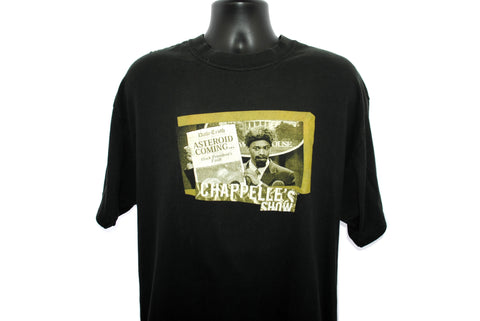 2003 Chappelle's Show Vintage Asteroid Coming... Black President's Fault S1 : E10 Deep Impact Classic Y2k Pop Culture Dave Chappelle Comedy Central TV Show Promo T-Shirt
