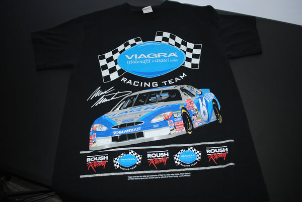 2001 Viagra (sildenafil citrate) Tablets Vintage #6 Car Mark Martin Classic Y2K Pop Culture Boner Pill Promo + NASCAR Racing Team T-Shirt