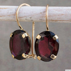 Dark Red Genuine Garnet 8X10mm Oval Dangle Earrings