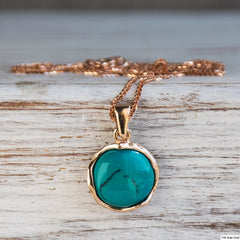Vintage Rose Gold Necklace 12 Turquoise Gemstone