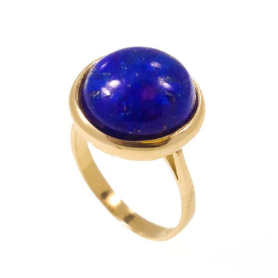 14K Yellow Gold Round 14mm Lapis Vintage Ring