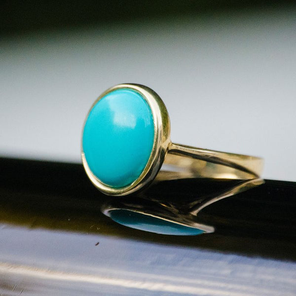 14K Yellow Gold Round 14mm Turquoise Vintage Ring