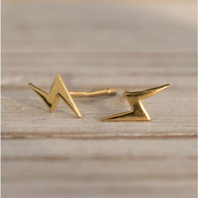 14k Solid Gold Lightning Stud Earrings With Gold Closures