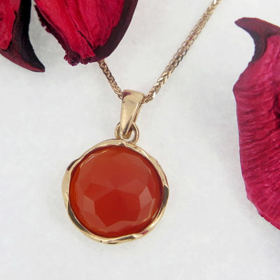 14K Rose gold 12mm Carnelian Vintage Pendant