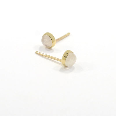 14k Solid Gold 4mm Moonstone Stud Earrings With Gold Closures