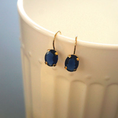 14K Gold Blue CZ Oval Dangle Earrings