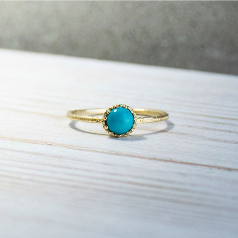 14K Yellow Gold Round Turquoise Turquoise Ring - Stacking Ring - Handmade Jewelry