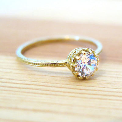 14K Yellow Gold Round White CZ Dainty Ring