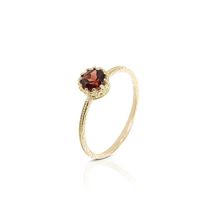 14K Yellow Gold Round Garnet Dainty Ring