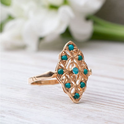 14K Rose gold Round Turquoise Turquoise Ring - Statement Ring , Handmade