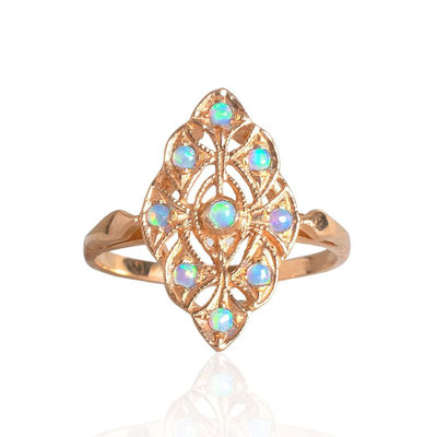 14K Rose gold Victorian Multistone Marquise Ring With 2mm Blue Opal