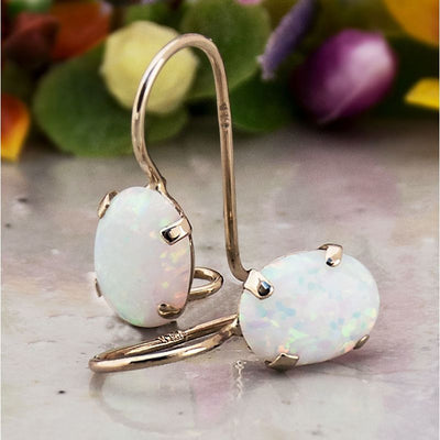 14K Gold White Opal Oval Dangle Earrings