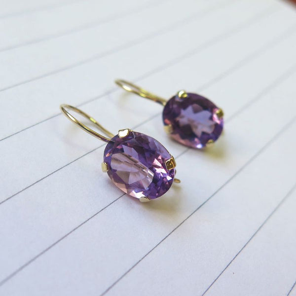14K Gold Amethyst 8X10mm Oval Dangle Earrings