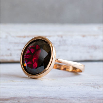 14K Rose gold Round Red Garnet Ring - Large Red Gemstone Ring , Handmade