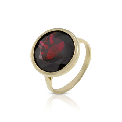 14K Yellow Gold Round Red Garnet Ring - Gemstone Ring , Handmade