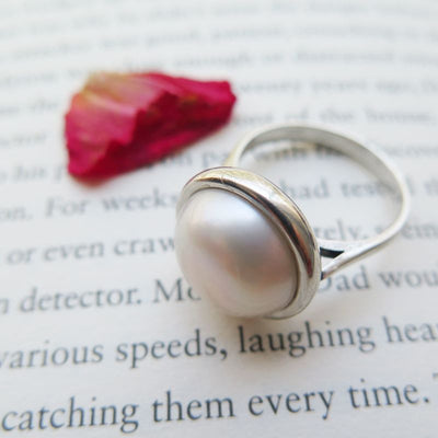 925 Sterling Silver With 14mm Pearl Gemstone
