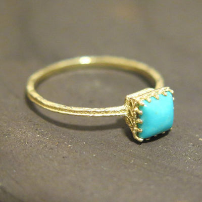 Yellow Gold 14K Turquoise Dainty Square Ring