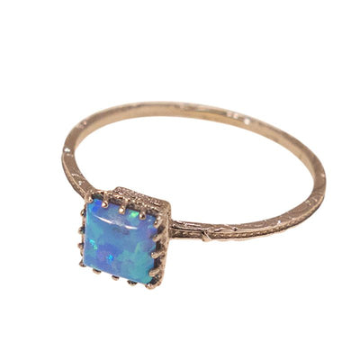 14K White gold Square Blue Opal Ring - Dainty Opal Gold Ring , Handmade