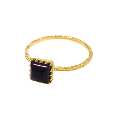 14K Yellow Gold Black Onyx Ring - , Handmade
