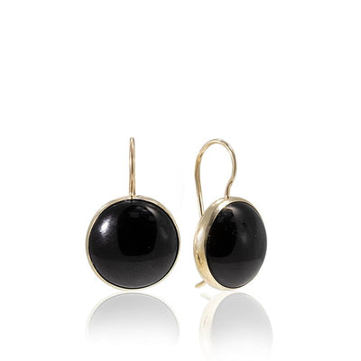14K Gold Round 12mm Black Onyx Dangle Earrings