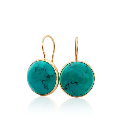 14K Gold Round 12mm Turquoise Dangle Earrings