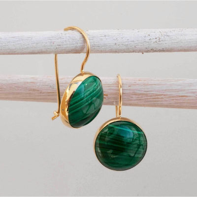 14K Gold Round 12mm Malachite Dangle Earrings