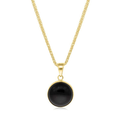 14K Yellow Gold 12mm Black Onyx Pendant