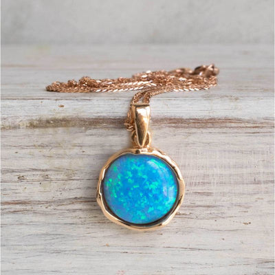 14K Rose gold 12mm Blue Opal Vintage Pendant