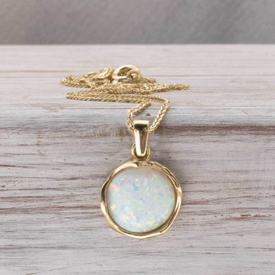 14K Yellow Gold 12mm White Opal Vintage Pendant