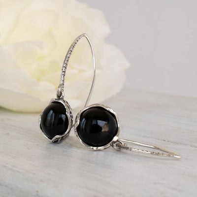925 Sterling Silver Handmade 12mm Black Onyx Vintage Dangle Earrings
